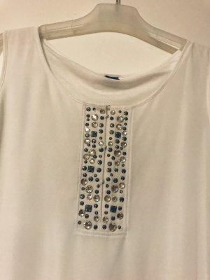 Weiße Bluse mit Glitzeraplikationen
