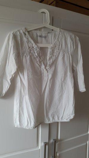 Weiße Bluse mit Häkeleinsatz von Emoi Gr. 38