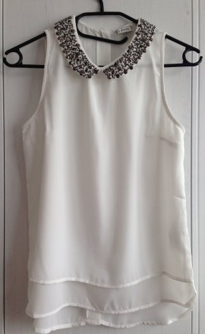 weiße Bluse mit Kragen von Pimkie