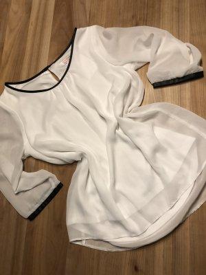 Weiße Bluse mit Lederbündchen - 38 - NEU