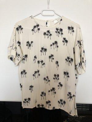 Weiße Bluse mit Palmen