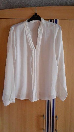 Weiße Bluse mit Perlenkragen Größe 38 M