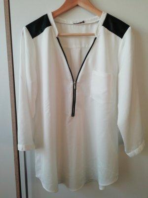Weiße Bluse mit Reißverschluss