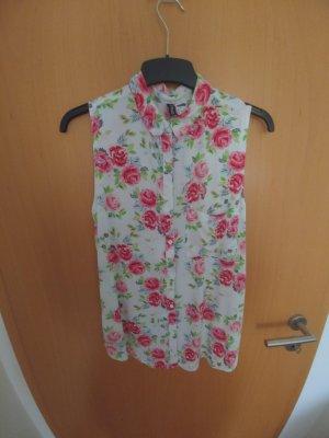 Weiße Bluse mit Rosenmuster