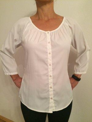 weiße Bluse mit Rundausschnitt