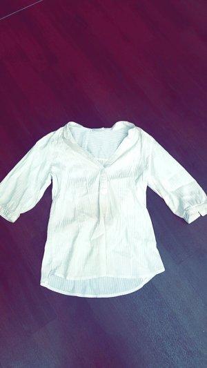 Weiße Bluse mit schimmernden Streifen