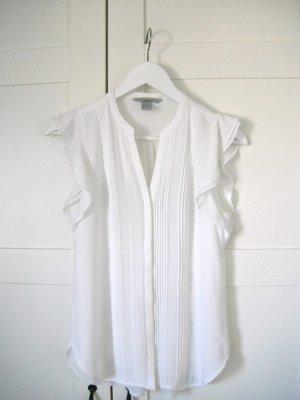 weiße Bluse mit Schmetterlingsärmeln, kurzarm, H&M, Gr. 34