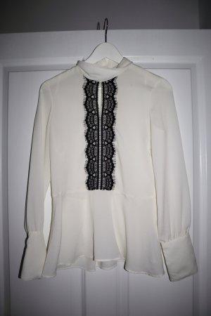 Weiße Bluse mit schwarzer Spitze ZARA