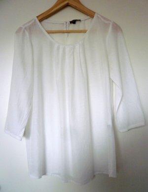 Weiße Bluse mit Seidenanteil