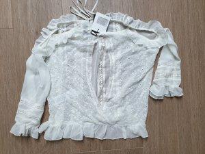 Weiße Bluse mit Spitze und Stickereien von Fracomina 36 38