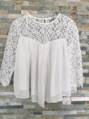 Weiße Bluse mit Spitze von Zara in XS