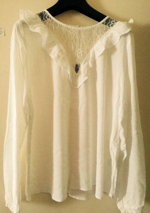 Weiße Bluse mit Spitzenbesatz von H&M Divided
