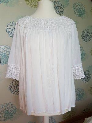 weiße Bluse mit Spitzeneinsätzen Gr. 44