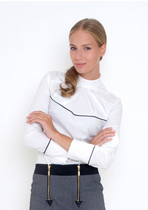 Stand-Up Collar Blouse white-black