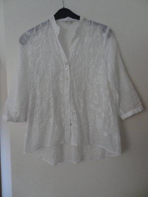 Weiße Bluse mit Stickerei Gr. 38