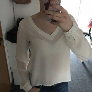 Weiße Bluse mit V Ausschnitt