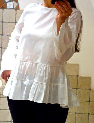Weiße Bluse mit Volants am Saum und Ärmel, Glockenärmel, Trompetenärmel, Baumwoll Popeline Gr. M