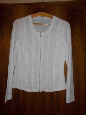 weiße Bluse Oberteil f d Frühjahr Sommer im Materialmix Just White