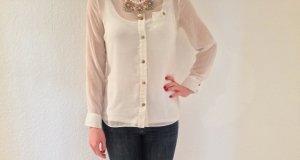 weiße Bluse Primark, transparent mit Kragen