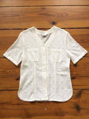 Weiße Bluse Stickerei Spitze Romantisch Trend Vintage Blumen Cotton