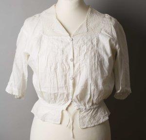 Weiße Bluse Vintage mit Spitzenkragen