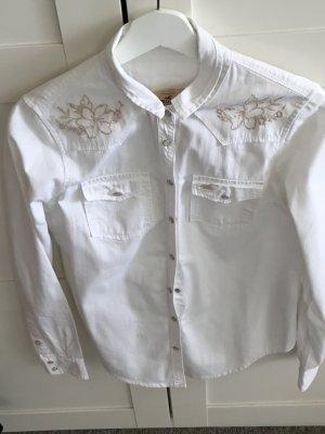 Weiße Bluse von hollister mit goldenem Muster