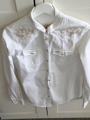 Weiße Bluse von hollister mit goldenem Muster an den Schultern