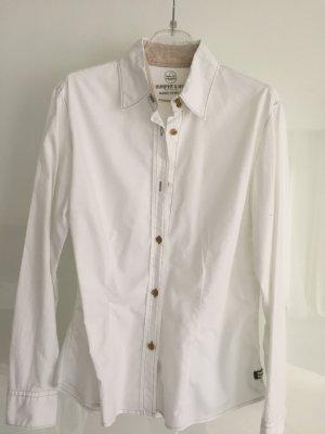 Weiße Bluse von Murphy & NYE mit beigen Ziernähten