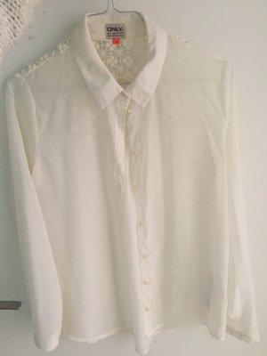 Weiße Bluse von ONLY mit Spitze