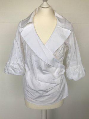 weiße Bluse von van Laack seitlich gerafft und mit Volant-Ärmel