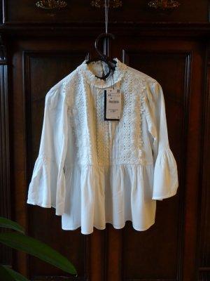Weiße Bluse von Zara, Gr. XS/34 - Neu mit Etikett