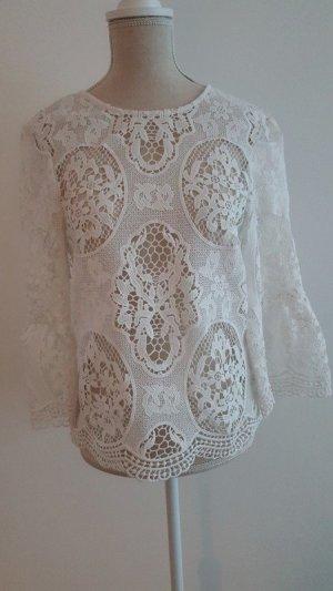 Zara Woman Kanten blouse wit