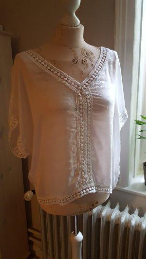 weiße Boho Bluse mit Stickerei