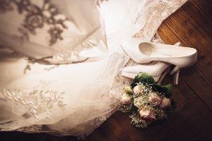 Weiße Brautschuhe ECHT LEDER White Lady High Heel Pumps 10cm