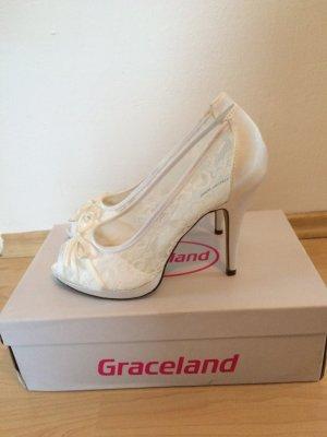 Weiße Brautschuhe High Heel Pumps Peeptoe 11cm