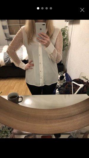 Weiße Calvin Klein Bluse mit Spitze, M