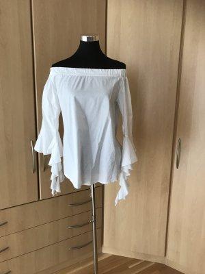 Carmen blouse wit Katoen