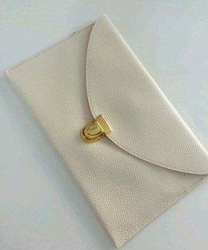 Bolso de mano blanco-color oro