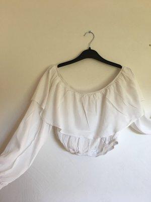 Weiße Crop-Bluse mit langen Ärmeln