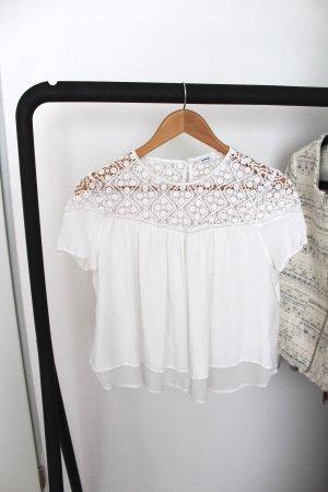 Weiße Cropped Bluse mit Spitze