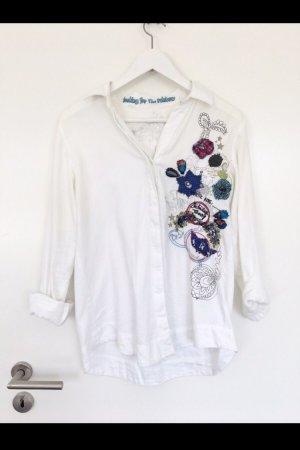 Weiße Desigual Bluse mit Bunten Patches