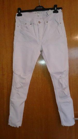 Weiße Destroyed Jeans