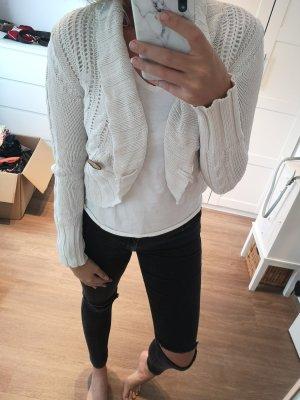 weiße dünne Strickjacke