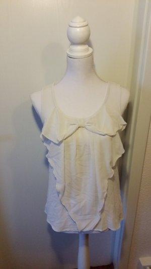 Weiße durchsichtige Bluse mit Schleife