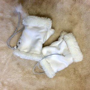 Handschoenen zonder vingers wit-wolwit