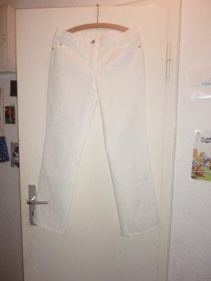 Gerry Weber Pantalon taille haute blanc coton