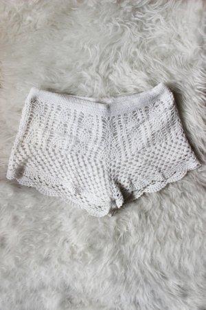 Weiße Häkelshorts Crochet H&M 36 S Blogger