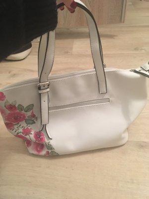 Weiße Handtasche mit Blumen