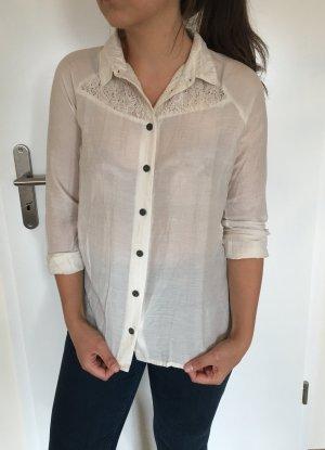 Weiße hellbeige langärmelige Bluse Hemd von Object Gr. XS (auch S!) mit Spitzenrücken und Kragen