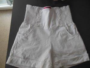 weiße High-Waist-Hotpants/Shorts, Gr. S, neu